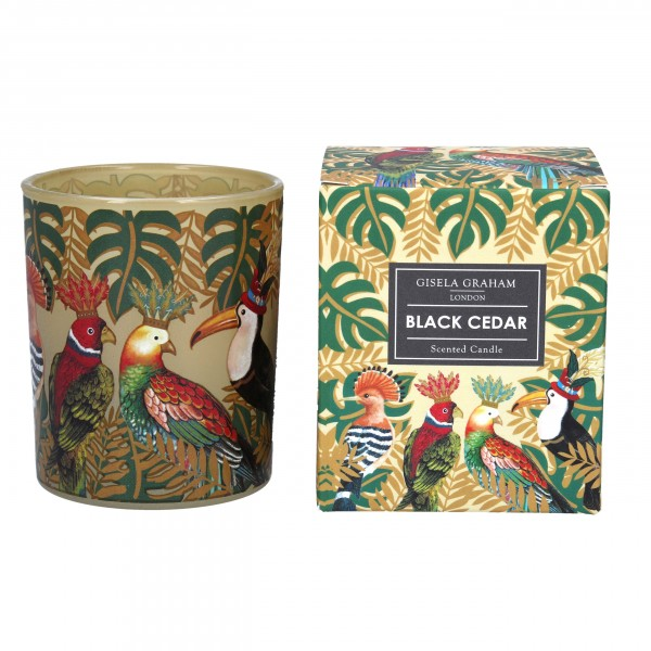 "Gisela Graham - Duftkerze ""Black Cedar "" im goldenen Tropic Design"