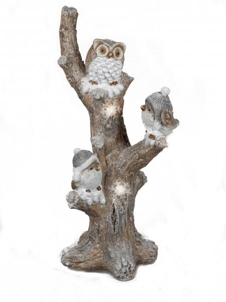 Formano Dekofigur Baum mit Eulen und Vögeln - LED