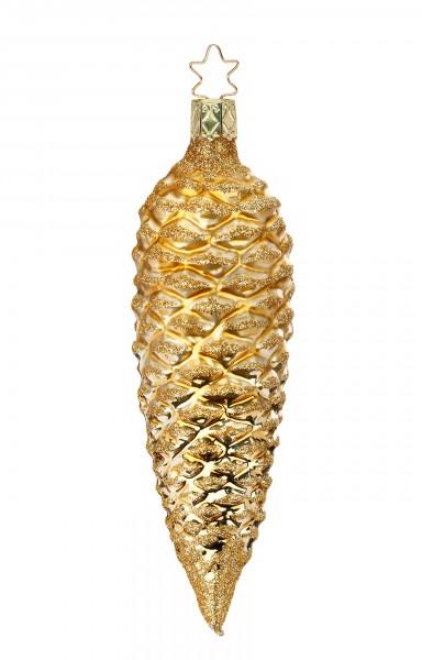 Inge-Glas Anhänger Tannenzapfen gold - Christbaumschmuck 13,5cm