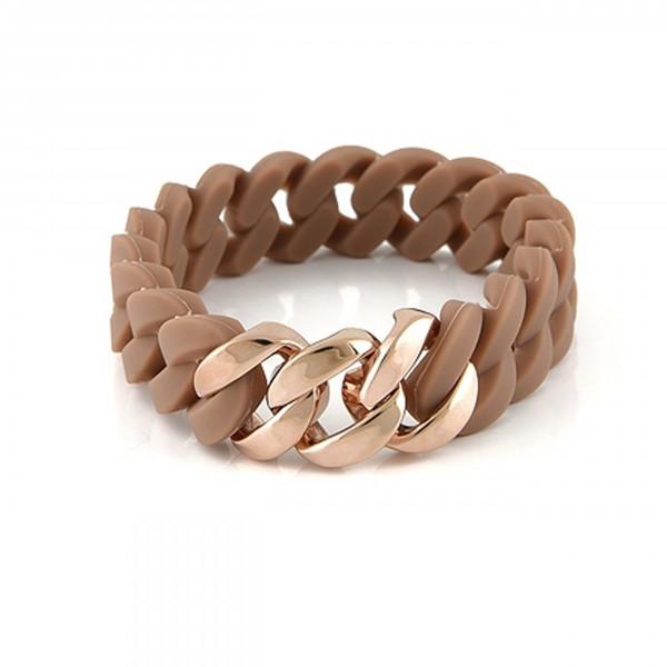 Silikon Armband, braun mit Edelstahl Einsatz rosegold