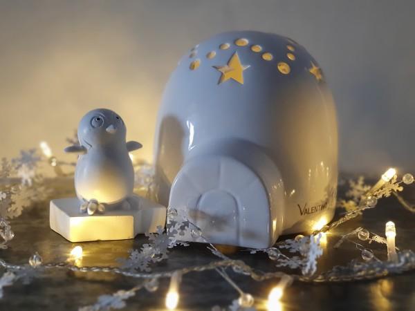 Valentino Wohnideen - Iglu glasiert mit LED, 17,5 cm mit gratis Pinguin