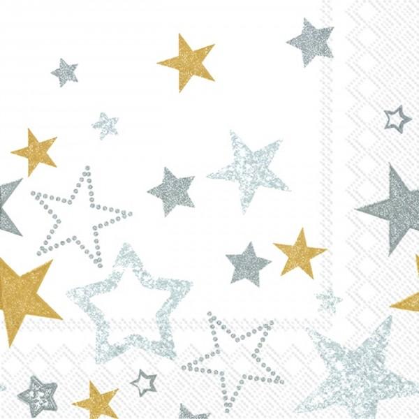 Serviette SPARKLING STARS white gold