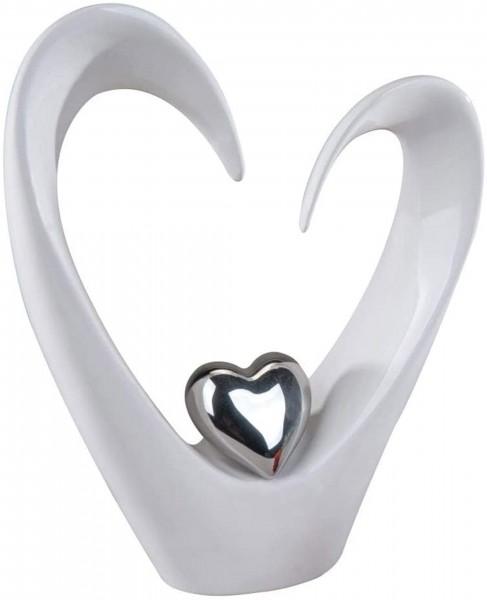 Formano Moderne Skulptur Herzen weiß/silber