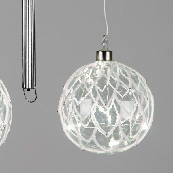 Formano LED-Kugel Glas, Loft mit weißen und silber Elementen, Timer Funktion, 12cm