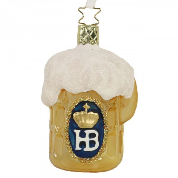 Inge-Glas Anhänger Bierkrug mit HB, 8,5cm