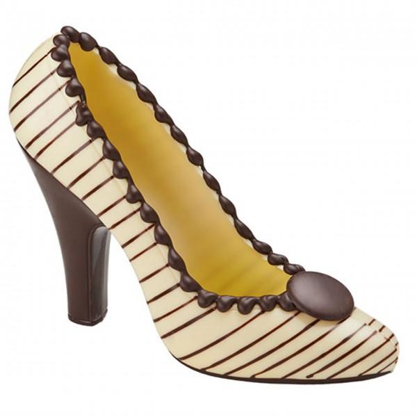 Schokoladen Pumps High Heel - Creme mit braunen Streifen, 120g