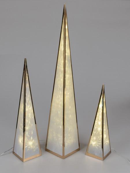 Formano Deko-Pyramide gold, aus Metall, 45 cm, mit 12 LEDs, 1 Stück, mit Drehmotor