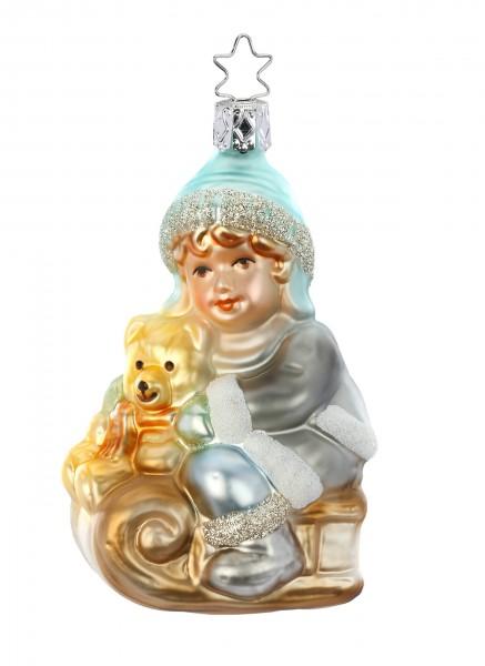 Inge-Glas Anhänger - Teddys Schlittenfahrt 10 cm, Christbaumanhänger