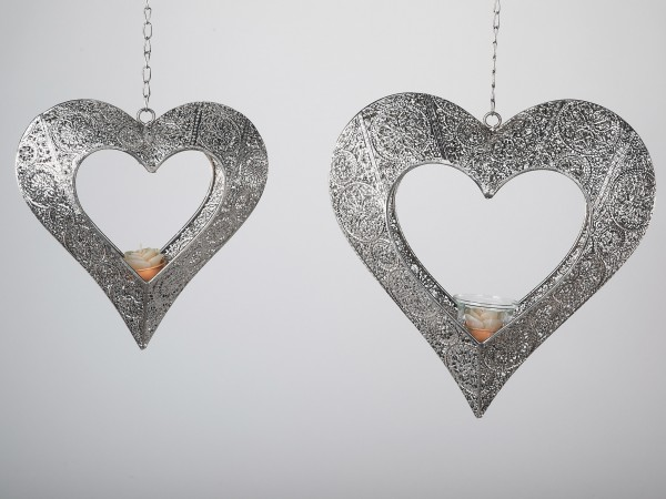 Formano Metall Teelicht-Herz Prado/Capri, silber