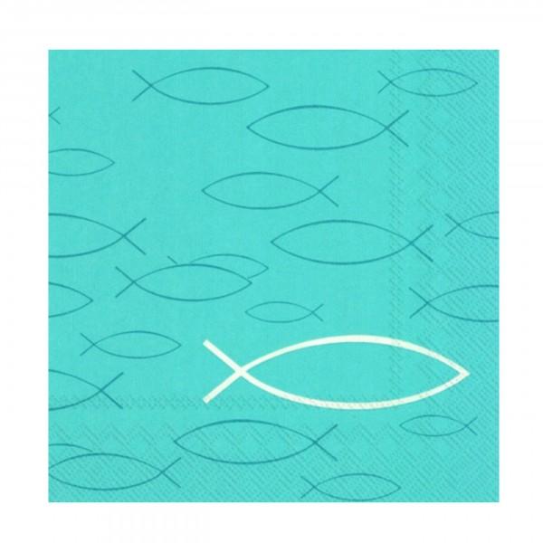 IHR Serviette Kommunion/Konfirmation PEACEFUL FISH turquoise