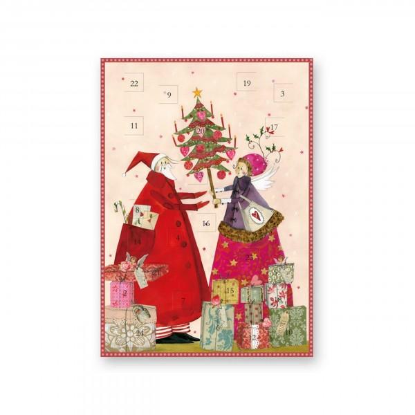 Adventskalender-Karte, Weihnachtsmann mit Engel