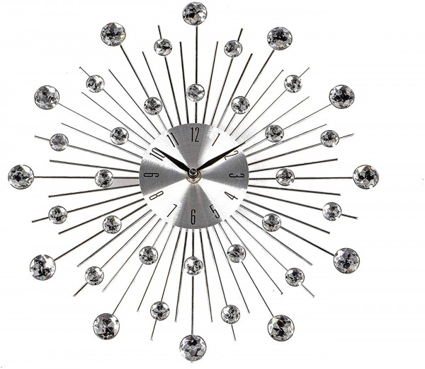 Formano - Wanduhr - Kristalle silber/chrom - 33cm