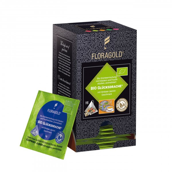 Floragold - Grüntee - BIO-Glücksdrache, im Pyramidenbeutel, 15 Stück