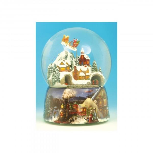 """Spieluhr - Schneekugel """"Zug & Santa"""""""