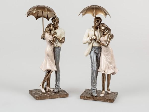 Formano Dekofigur - Paar, stehend, mit Regenschirm, 28cm