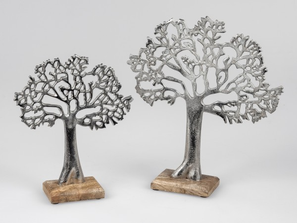 Formano - Lebensbaum - Alu Mango-Holz - auf einem Holzsockel, 34cm