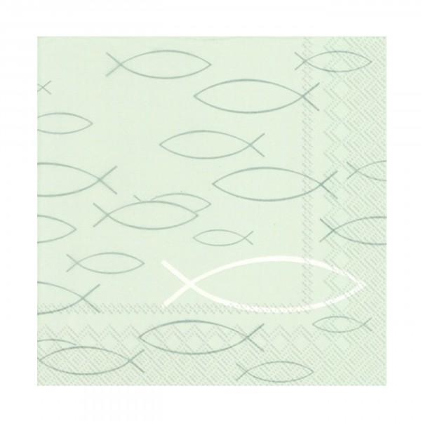 IHR-Serviette Kommunion/Konfirmation PEACEFUL FISH grey