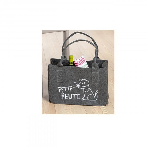 Gilde Einkaufstasche - Filztasche - Fette Beute (dunkelgrau)