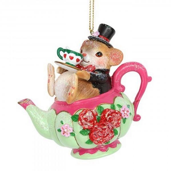 Gisela Graham Anhänger, Maus mit Zylinder in der Teetasse