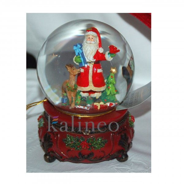Spieluhr Schneekugel Santa Claus mit Rentier