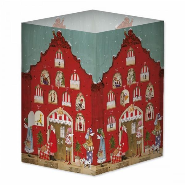 Adventskalender-Transparentleuchte, rotes Weihnachtshaus - Silke Leffler