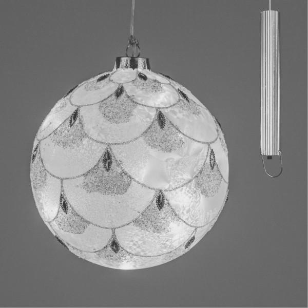 Formano LED-Kugel matt, Eiszeit mit silber Elementen und Timer Funktion, 10cm