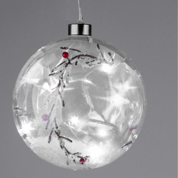 Formano LED-Kugel mit Zweigen und Deko-Schnee, Timer Funktion, ca. 15 cm